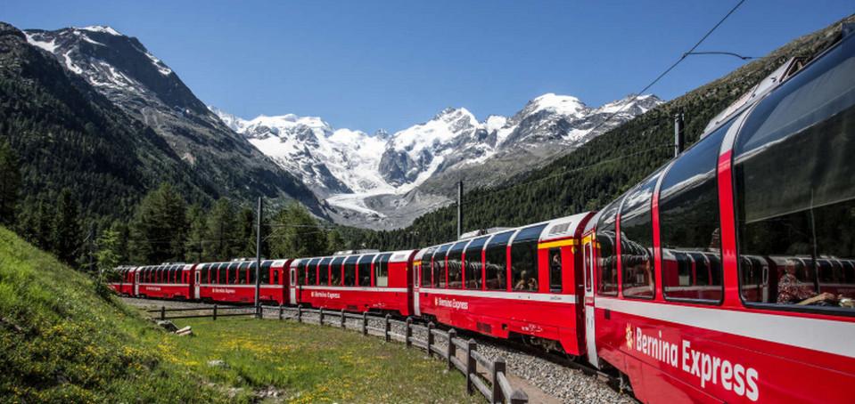 Железная дорога Бернина Экспресс, Швейцария и Италия.