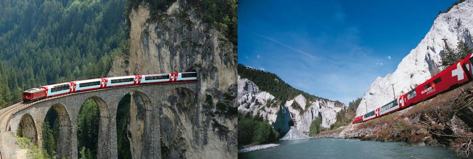 Знаменитый Glacier Express. это железнодорожный маршрут через живописную Швейцарию.